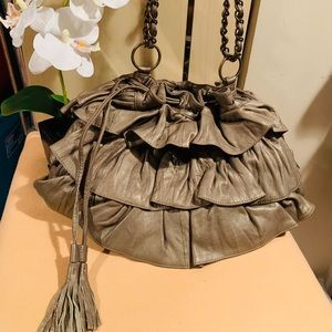 Adrienne Vittadini Ruffled Leather Bag